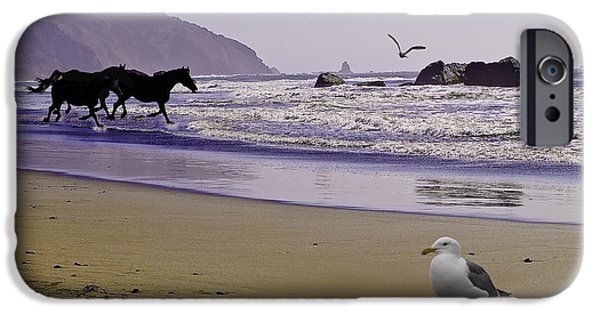 Horse Racing iPhone Cases - Racing On Till Morning iPhone Case by Diane Schuster