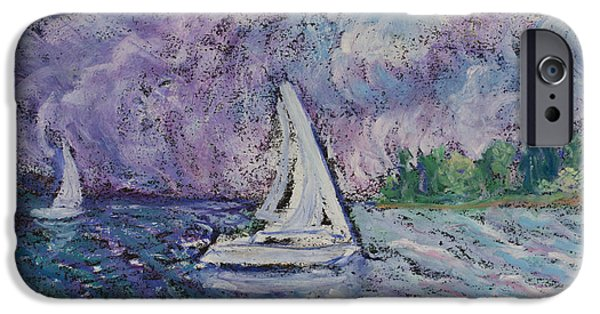 Sailboats iPhone Cases - Racing the Storm iPhone Case by Madonna Siles