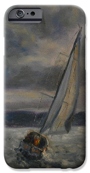 Sailboats iPhone Cases - Racing the Storm iPhone Case by Will Germino
