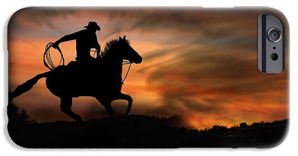 Roping Horse iPhone Cases - Racing the Sun iPhone Case by Stephanie Laird