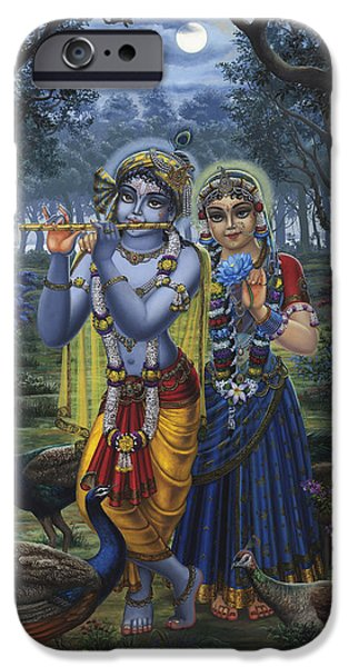 Hinduism iPhone Cases - Radha and Krishna on full moon iPhone Case by Vrindavan Das