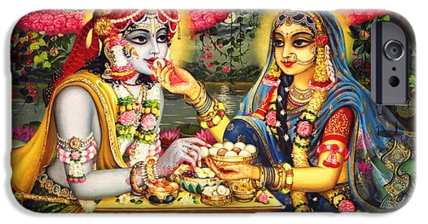 Hinduism iPhone Cases - Radha Krishna Bhojan Lila on Yamuna iPhone Case by Vrindavan Das