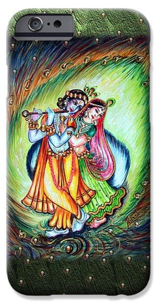 Hindu Goddess iPhone Cases - Radha Krishna iPhone Case by Harsh Malik