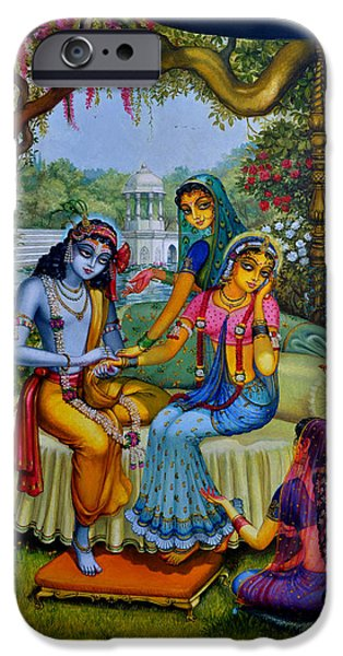 Radha Krishna man lila on Radha kunda iPhone Case by Vrindavan Das