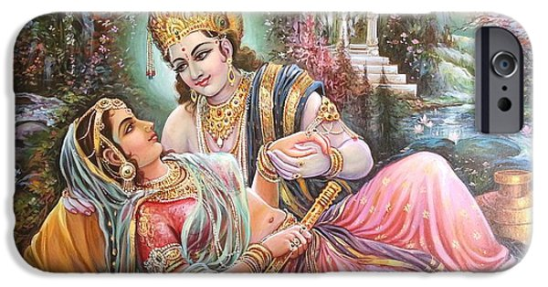 Vibrant Colors Drawings iPhone Cases - Radha Krishna oil canvas painting iPhone Case by Mayur Sharma