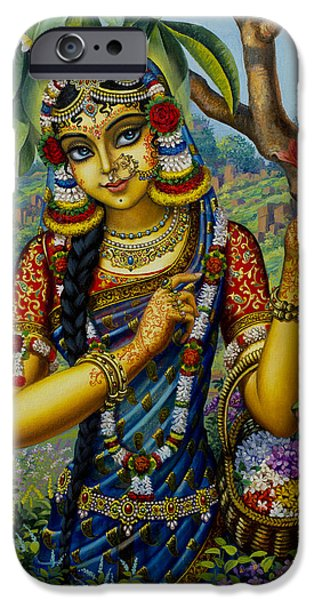 Temple Paintings iPhone Cases - Radha on Govardhan hill iPhone Case by Vrindavan Das