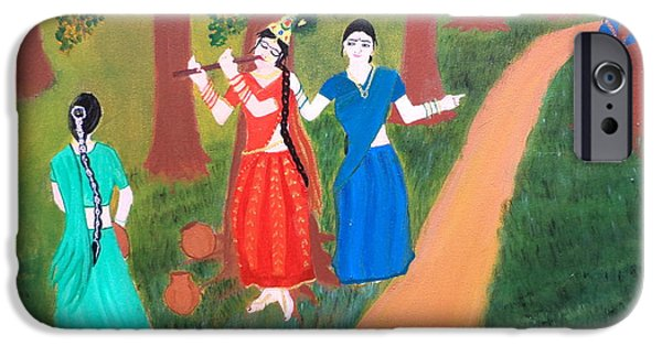 Hindu Goddess iPhone Cases - Radha Playing Krishna iPhone Case by Pratyasha Nithin