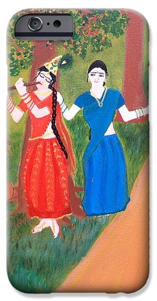 Radha Playing Krishna iPhone Case by Pratyasha Nithin
