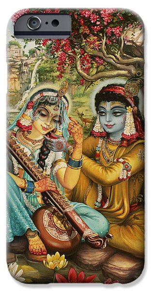 Hinduism iPhone Cases - Radha playing vina iPhone Case by Vrindavan Das