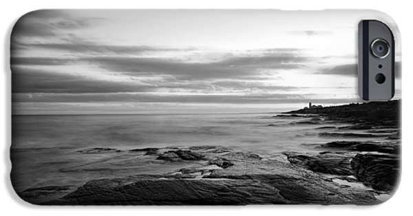 New England Lighthouse iPhone Cases - Radiance Of its Light Black and White iPhone Case by Lourry Legarde