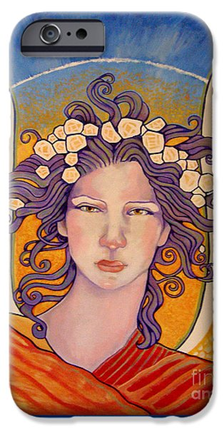 Seraphim Angel Digital Art iPhone Cases - Radiant Angel Panel 2 iPhone Case by Dia T