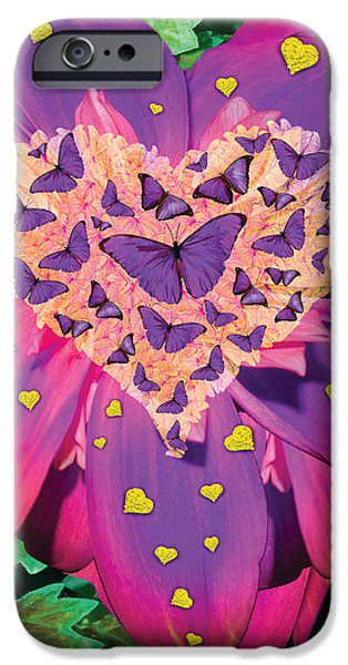 Abstract Digital iPhone Cases - Radiant Butterfly Heart iPhone Case by Alixandra Mullins