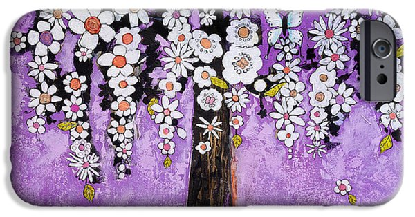 Artsy iPhone Cases - Radiant Orchid Flower Tree iPhone Case by Blenda Studio