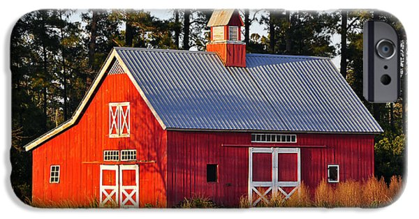 Barn Poster Photographs iPhone Cases - Radiant Red Barn iPhone Case by Al Powell Photography USA