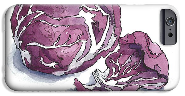 Pen And Ink iPhone Cases -  Refined Radicchio  iPhone Case by Maria Hunt