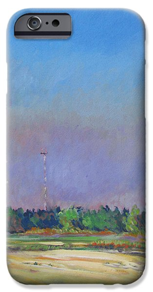 Circuit Paintings iPhone Cases - Radio Towers iPhone Case by Vanessa Hadady BFA MA