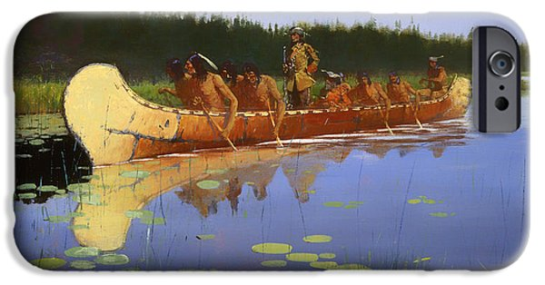 Exploring Paintings iPhone Cases - Radisson and Grosseilliers iPhone Case by Frederic Remington