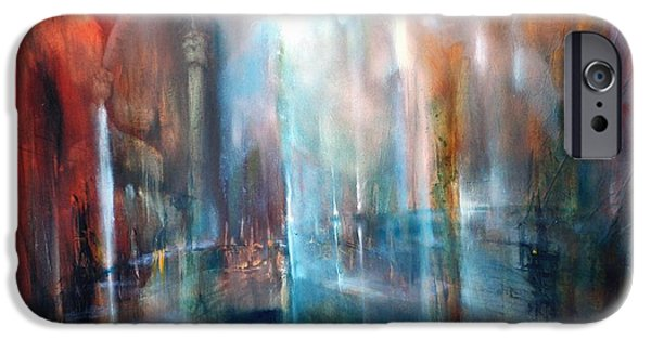 Church Pillars Paintings iPhone Cases - Raeume iPhone Case by Annette Schmucker