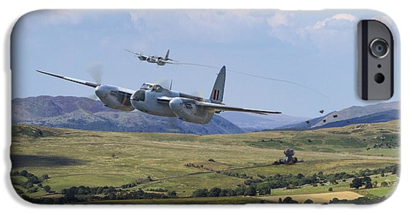 Combat Scene iPhone Cases - RAF Mosquito - Train Buster iPhone Case by Pat Speirs