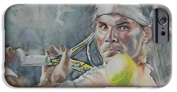French Open Paintings iPhone Cases - Rafa Nadal - Portrait 2 iPhone Case by Baresh Kebar - Kibar