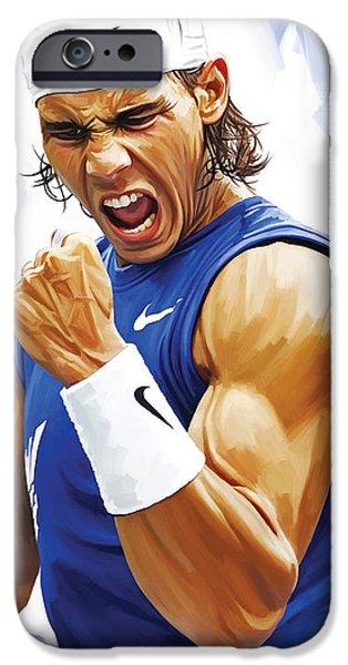 Sport Portraits Mixed Media iPhone Cases - Rafael Nadal Artwork iPhone Case by Sheraz A
