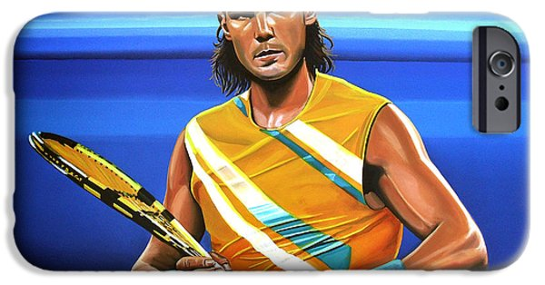 Sports Paintings iPhone Cases - Rafael Nadal iPhone Case by Paul  Meijering