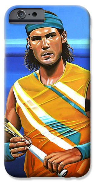 French Open Paintings iPhone Cases - Rafael Nadal iPhone Case by Paul Meijering