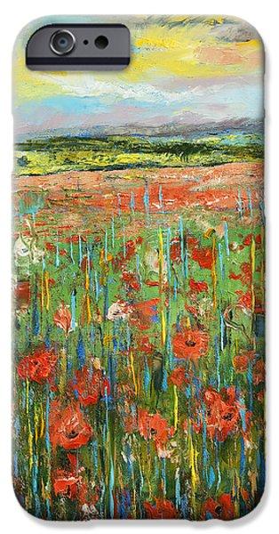 Brick Paintings iPhone Cases - Raga Jhinjhoti iPhone Case by Michael Creese