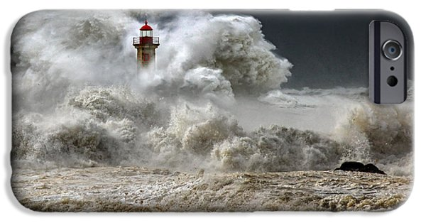 Lighthouse Pyrography iPhone Cases - Rage iPhone Case by Veselin Malinov