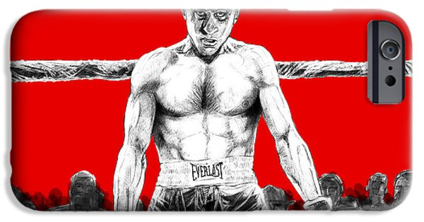 Robert De Niro Drawings iPhone Cases - Raging Bull iPhone Case by Anthony DG Clark