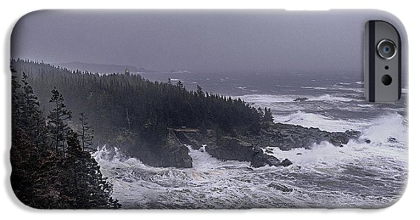 West Quoddy Head Lighthouse iPhone Cases - Raging Fury at Quoddy iPhone Case by Marty Saccone