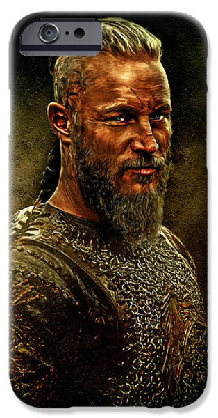 Beard iPhone Cases - Ragnar Lothbrok Digital Oil Portrait iPhone Case by Marian Voicu