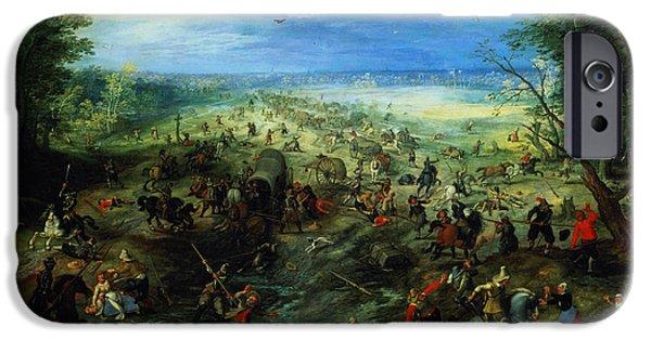 Murder iPhone Cases - Raid On A Caravan Of Wagons, 1612 iPhone Case by Jan Brueghel