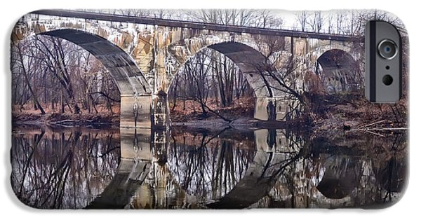 Rail Digital Art iPhone Cases - Rail Road Bridge at Phoenixville and Mont Clare iPhone Case by Bill Cannon