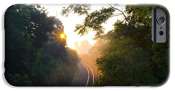 Rail Digital Art iPhone Cases - Rail Road Sunrise iPhone Case by Bill Cannon