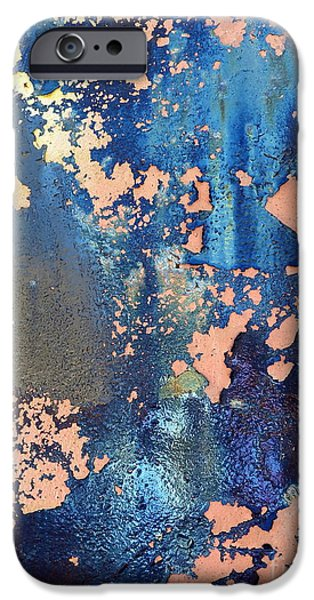 Oil Stain iPhone Cases - Rail Rust - Abstract - Iridescent Blue iPhone Case by Janine Riley