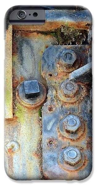 Oil Stain iPhone Cases - Rail Rust - Abstract - Nuts and Bolts iPhone Case by Janine Riley