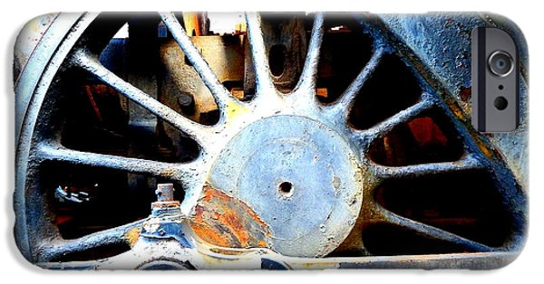 Oil Stain iPhone Cases - Rail Rust - Locomotive - Big Wheel iPhone Case by Janine Riley