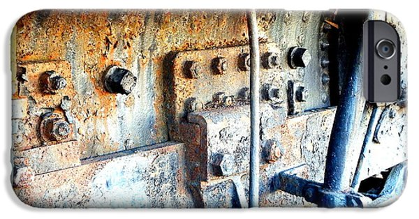 Historic Site iPhone Cases - Rail Rust - Locomotive - Nuts and Bolts iPhone Case by Janine Riley