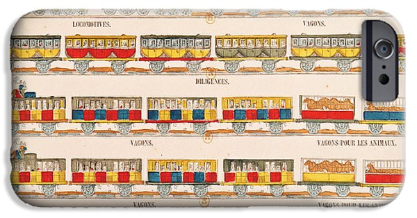 Railway Locomotive iPhone Cases - Rail Travel In 1845 Coloured Engraving Detail See Also 192826 iPhone Case by French School