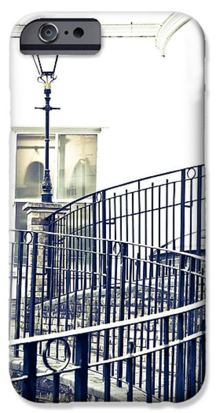 Alley Photographs iPhone Cases - Railings and lamp iPhone Case by Tom Gowanlock
