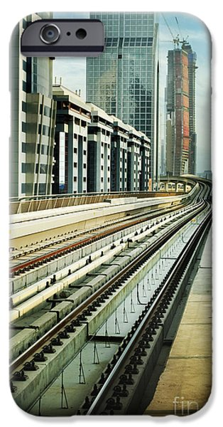 Modern Pyrography iPhone Cases - Railroad in Dubai iPhone Case by Jelena Jovanovic