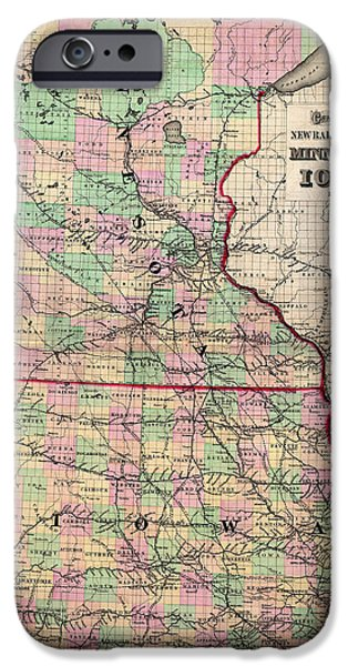 Minnesota Drawings iPhone Cases - Railroad Map of Minnesota and Iowa 1873 iPhone Case by Mountain Dreams