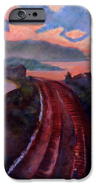 Tracks Pastels iPhone Cases - Railroad iPhone Case by Susan Will