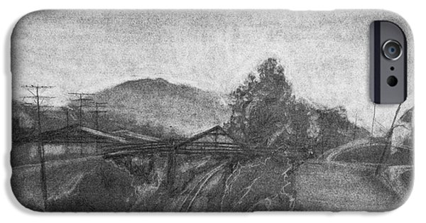 Abstract Collage Drawings iPhone Cases - Railroad to coal mine. iPhone Case by Jott Harris