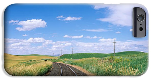 Horizon Over Land iPhone Cases - Railroad Track Passing Through A Field iPhone Case by Panoramic Images