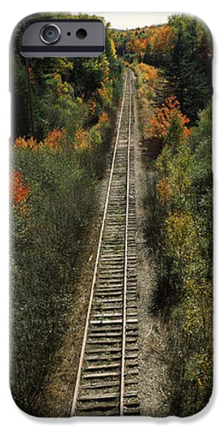 Maine iPhone Cases - Railroad Tracks Along Route 1a iPhone Case by Panoramic Images