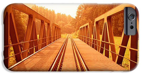 Connection iPhone Cases - Railroad Tracks And Bridge Germany iPhone Case by Panoramic Images