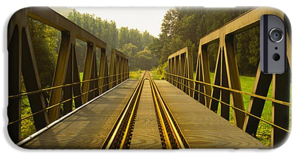 Connection iPhone Cases - Railroad Tracks Passing iPhone Case by Panoramic Images