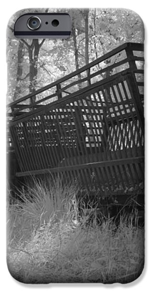 Rails and trains of a locomotive in infrared light in Netherlands iPhone Case by Ronald Jansen